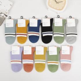 秋季新款双针纯色学生袜精梳棉中筒男女生纯棉袜10双