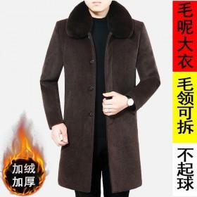 毛呢大衣男中老年毛呢外套中长款呢子上衣加绒加厚冬装