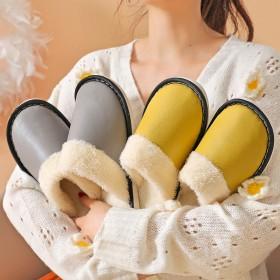 冬季新款保暖居家室内毛毛拖鞋防滑情侣PU皮面防水月
