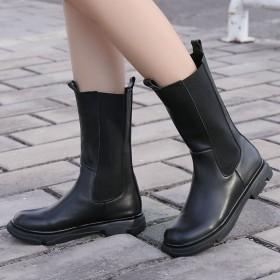 全牛皮中筒靴女2020新款秋冬单靴子厚底切尔西短靴