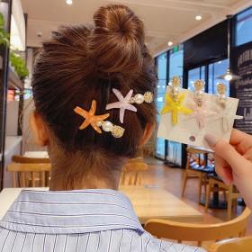 韩国ins森系彩色海星发夹发卡 甜美夏日清新珍珠一