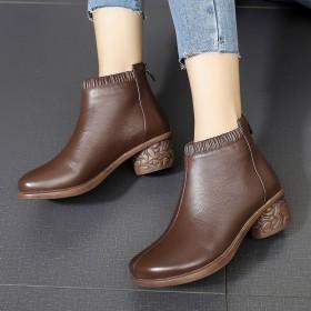粗跟短靴2020秋季新款复古马丁靴真皮软底妈妈鞋