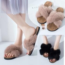 新款韩版外穿拖鞋女网红毛毛交叉拖鞋