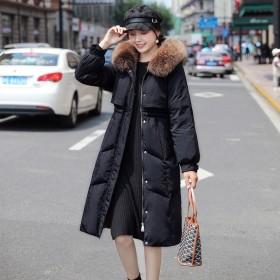 白鸭绒羽绒服女加厚韩版连帽真毛领时尚潮流爆款外套