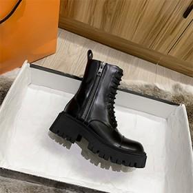 2020秋冬大头牛皮马丁靴女英伦风厚底增高短靴帅气
