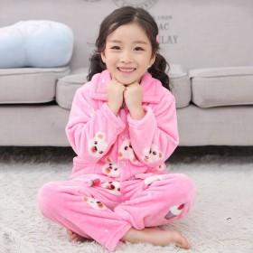 秋冬季儿童睡衣男童女童珊瑚绒宝宝套装小孩亲子加厚法