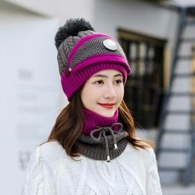 帽子女冬季围脖口罩三件套
