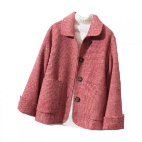 毛呢外套女新款显瘦羊毛短装千鸟格韩版宽松外搭个子毛
