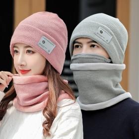 帽子女冬加绒帽子围脖口罩三件套毛线帽
