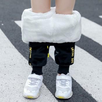 男童加绒裤子2020秋冬款儿童双面绒加厚棉裤中大童