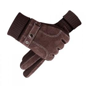 冬季保暖加绒防风真皮手套
