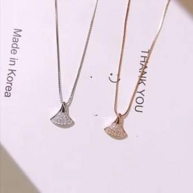 925纯银小裙子扇形镶钻简约气质项链锁骨链