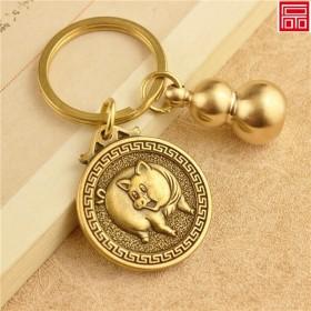 黄铜葫芦钥匙扣挂件纯铜葫芦汽车钥匙扣纳福生肖挂件招