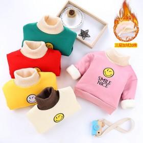 冬季男女童棉袄加绒加厚保暖上衣棉服家居服套头圆领棉