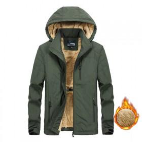 大码男装男士加绒加厚棉衣秋冬季中长款外套保暖棉服A