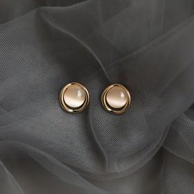 2020新款潮感耳环日韩猫眼石纯银耳钉女简约气质冷