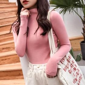 2019五笔蟹白色秋冬新款韩版半高纯色薄绒长袖T恤