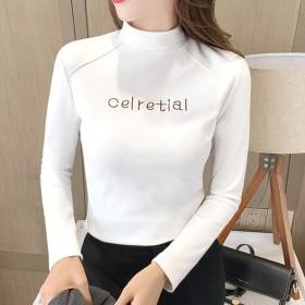 2020秋冬新款韩版女打底衫半高领T恤内搭上衣