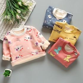 儿童保暖上衣宝宝中领长袖加绒T恤男女童满印t打底衫