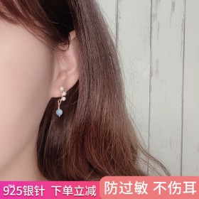 14K金珍珠耳环天然石淡水珠精巧简约设计防过敏耳钉
