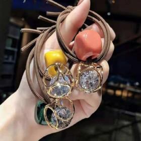 新款韩版镂空橡皮筋扎头发方块发圈发绳小清新大钻头绳