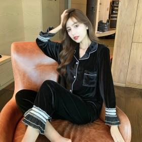 韩版金丝绒睡衣女秋冬长袖花边2020年新款两件套装