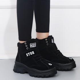 高帮鞋女2020冬季款韩版松糕厚底女鞋学生休闲冬季