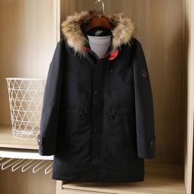 加拿大鹅加厚中长款90%白鸭绒羽绒服可脱卸毛领外套