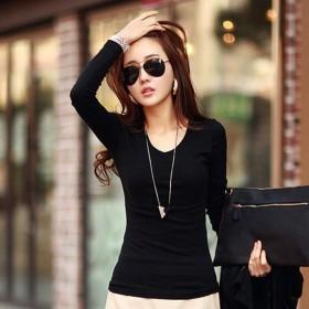 秋季纯色T恤女长袖