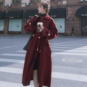毛呢外套女中长款2020秋冬新款韩版宽松加厚过膝纯