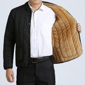 秋冬季节冬装加绒加厚中老年小棉衣男士冬季中年小棉袄