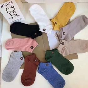 小熊袜秋冬款男女低筒涤棉运动休闲短袜十色小熊袋装