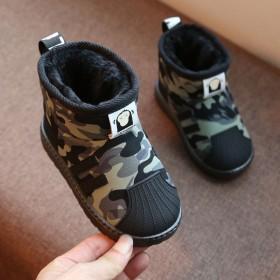 儿童雪地靴加绒防滑男童防水棉鞋女童短靴宝宝保暖鞋