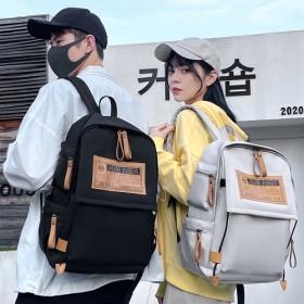 休闲双肩包男帆布女潮流时尚旅行背包大容量中学生书包