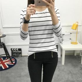 女装2020秋装新款韩版条纹宽松显瘦女士学生长袖t