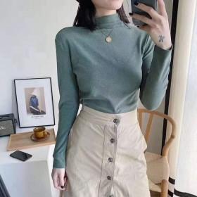 阳离子打底衫女半高领纯色高弹保暖百搭长袖衫保暖衫