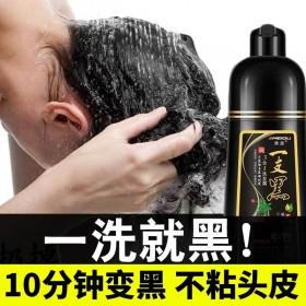 一洗黑染发剂黑色植物遮白发清水黑发洗发水自己染发膏