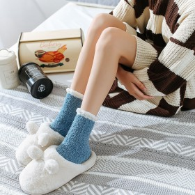 秋冬款纯色麻绒睡眠袜子厚保暖中筒居家袜简约地板袜子