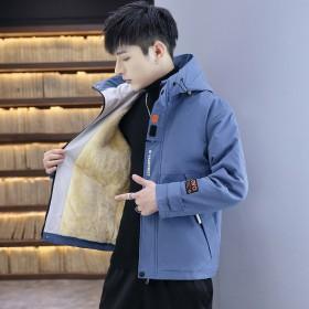 男士冬季青年加绒加厚潮时尚休闲工装棉袄羽绒棉服棉衣