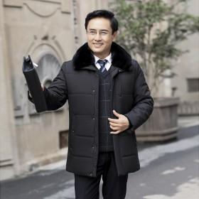 2020新男中老年棉衣爸爸装冬装棉服外套加绒加厚
