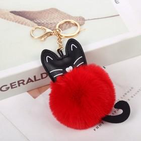 可爱猫咪毛球钥匙扣创意PU韩版毛绒球时尚女包包