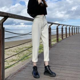 牛仔裤女直筒宽松高腰显瘦显高浅色老爹裤秋装裤子