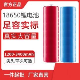18650锂电池充电器强光手电筒灯小风扇电池 平头