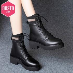 头层牛皮马丁靴女真皮中跟新款秋冬粗跟短靴女厚底英伦