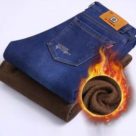 美国苹果加绒加厚牛仔裤秋冬季男弹力直筒男裤牛仔长裤