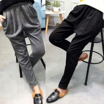 冬季哈伦裤女加厚显瘦休闲加绒小脚裤