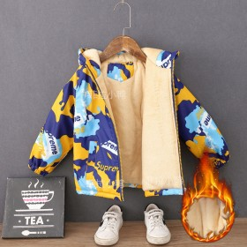 童装男童外套加绒加厚秋冬儿童冲锋衣中小童防风外套