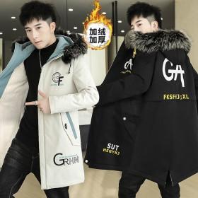 加绒加厚外套男风衣秋冬新款中长款夹克韩版修身褂