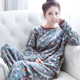 法兰绒套装家居睡衣女秋冬季加厚珊瑚绒学生可爱宽松圆