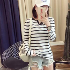 秋季新款韩版女装修身条纹V领长袖t恤女士打底衫时尚